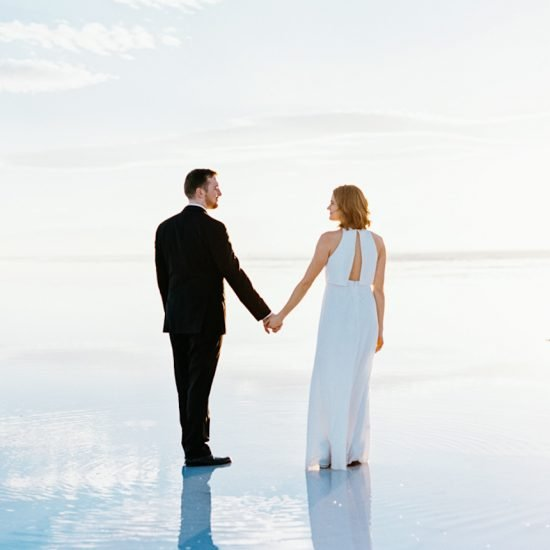 Chic Engagements at the Bonneville Salt Flats