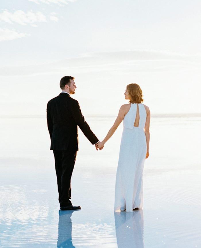 Chic Engagements at the Bonneville Salt Flats