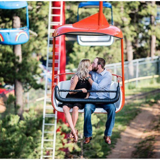 Whimsical Colorado Amusement Park Engagement
