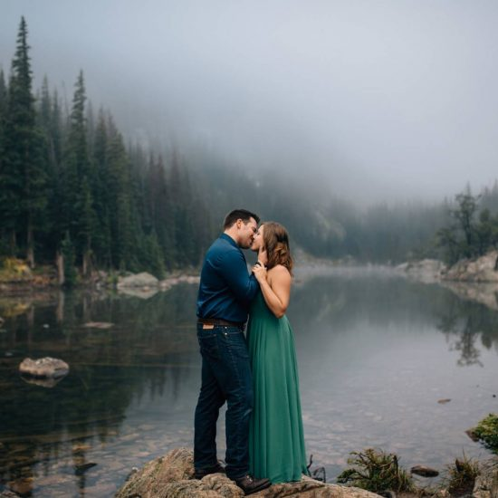 Foggy Morning Dream Lake Engagement