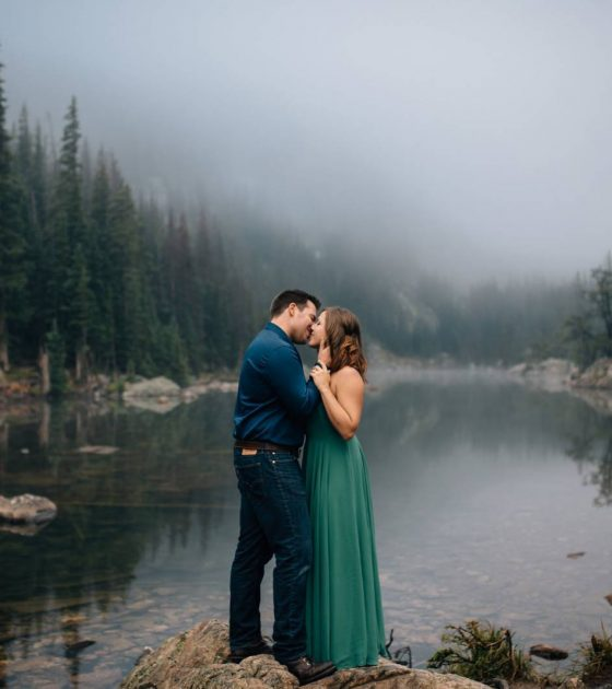 Foggy Morning Dream Lake Engagement