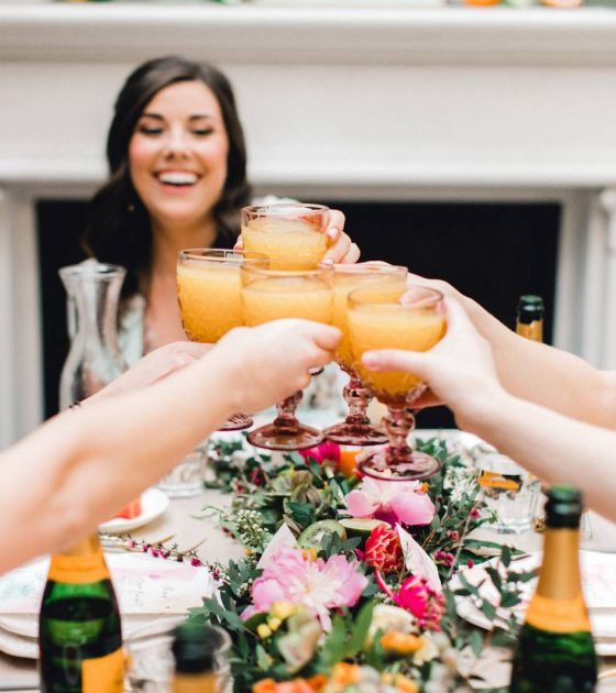 Yellow, Coral and Pink Bridesmaids Brunch
