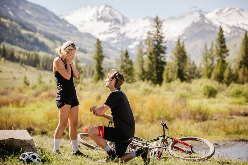 Mountain Biking Surprise Proposal   Crested Butte Wedding Proposal
