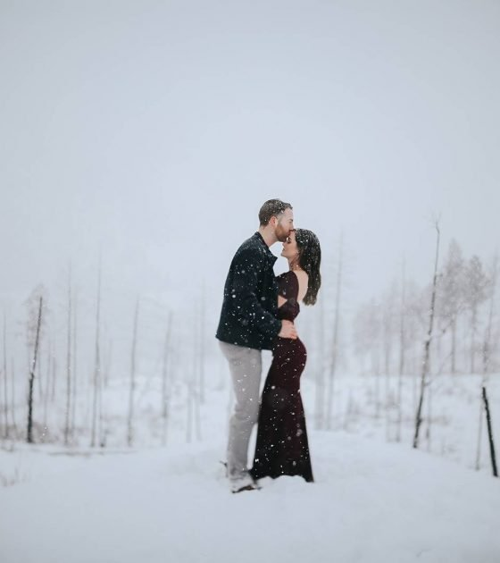 Snowy Winter Kelowna Engagement Session