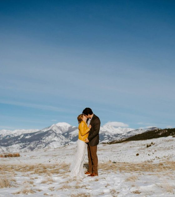 Montana Inspired Intimate Winter Wedding