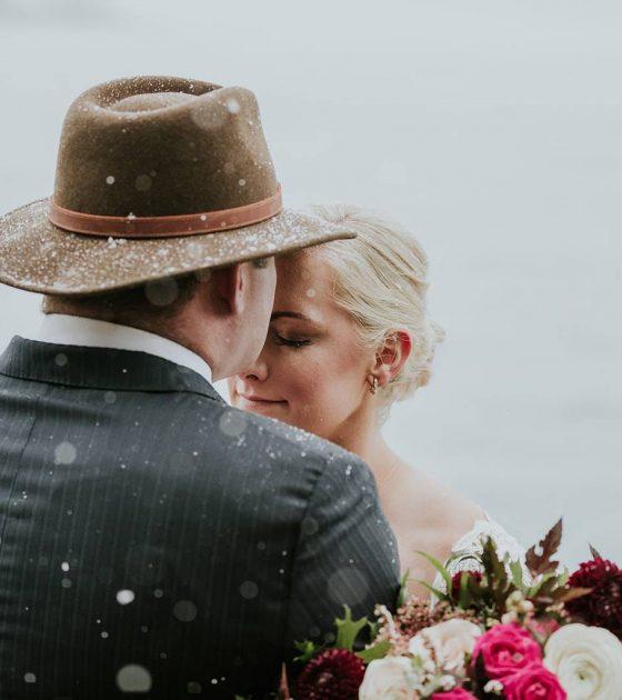 Snowy Lake Minnewanka Wedding