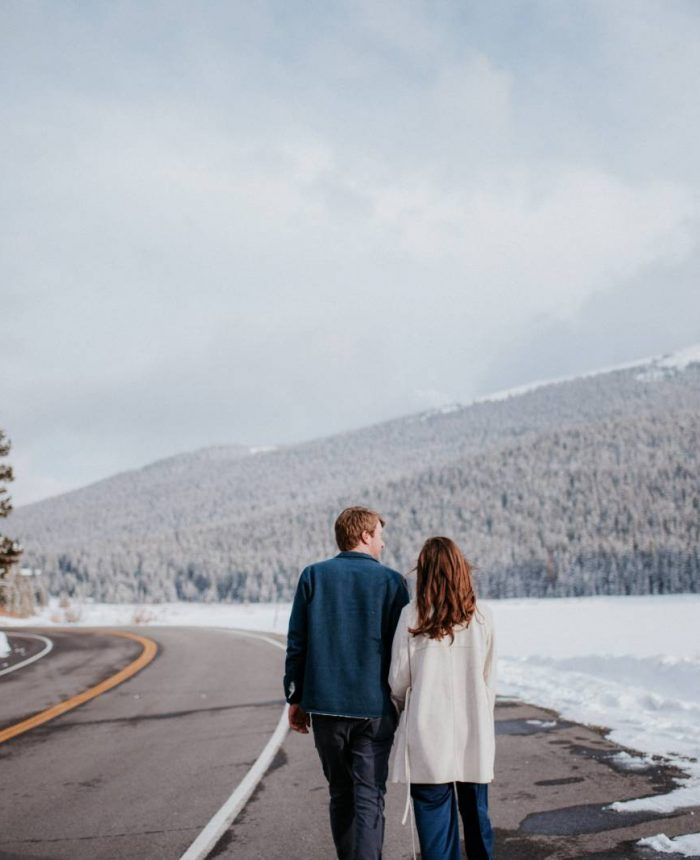 Snowy Winter Engagement Session at Echo Lake, Colorado