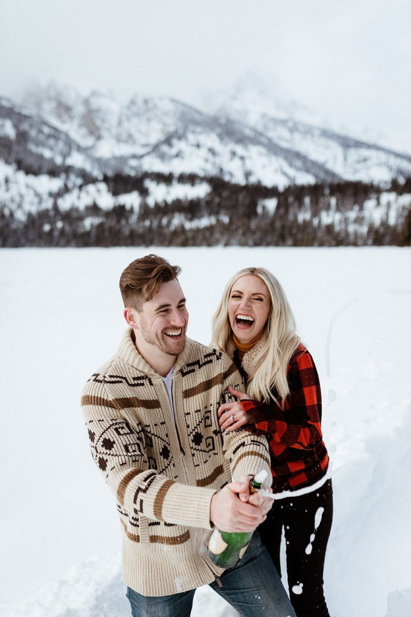 Playful and Snowy Wyoming Engagement
