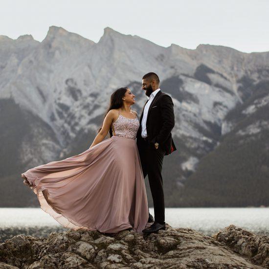 Glamorous Sunrise Banff National Park Engagement
