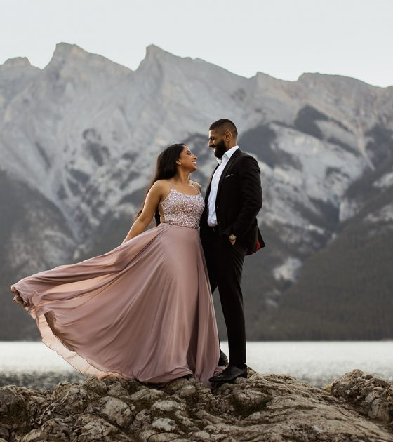Glamorous Sunrise Banff National Park Engagement