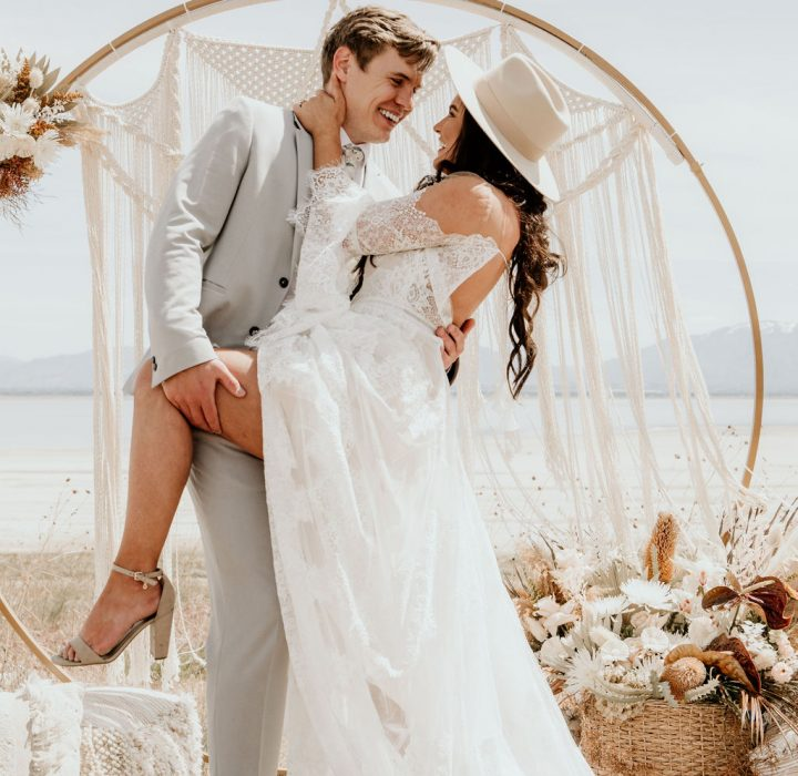 Bohemian Antelope Island State Park Elopement Inspiration