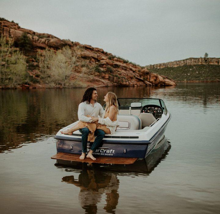 Romantic Horsetooth Reservoir Boating Engagement