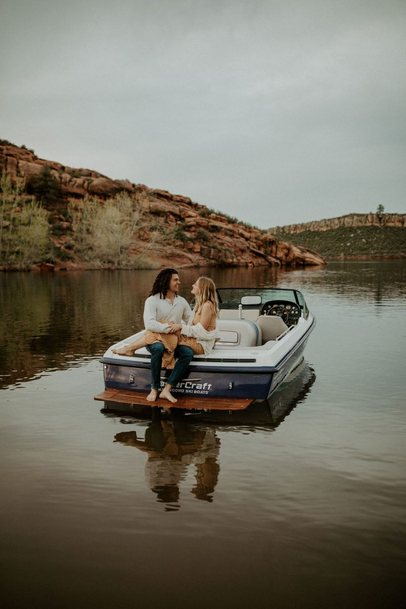 Romantic Horsetooth Reservoir Boating Engagement