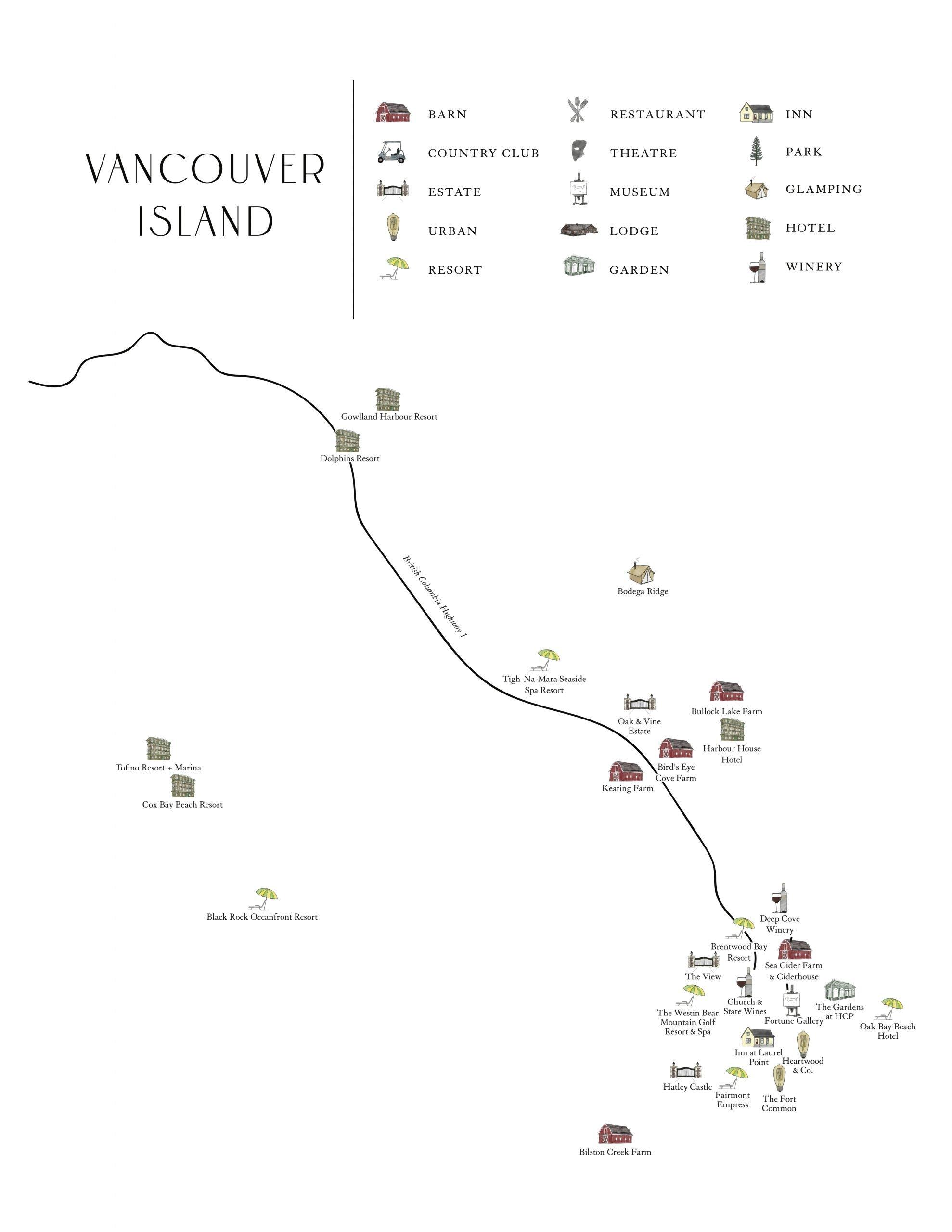 Vancouver Island Wedding Guide Wedding Venue Map