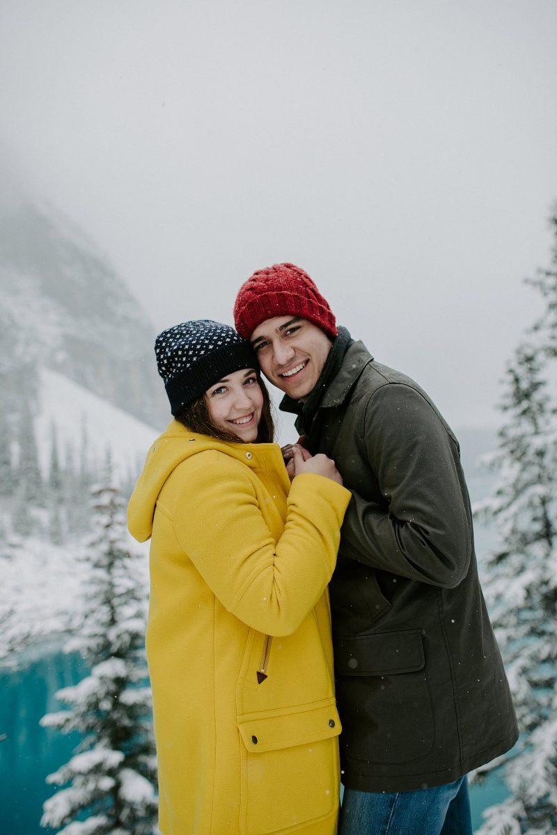 Chilly Moraine Lake Honeymoon Portraits