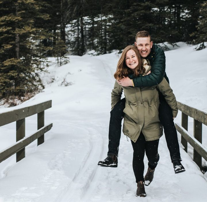 Snowy and Playful Kananaskis Lakes Engagement