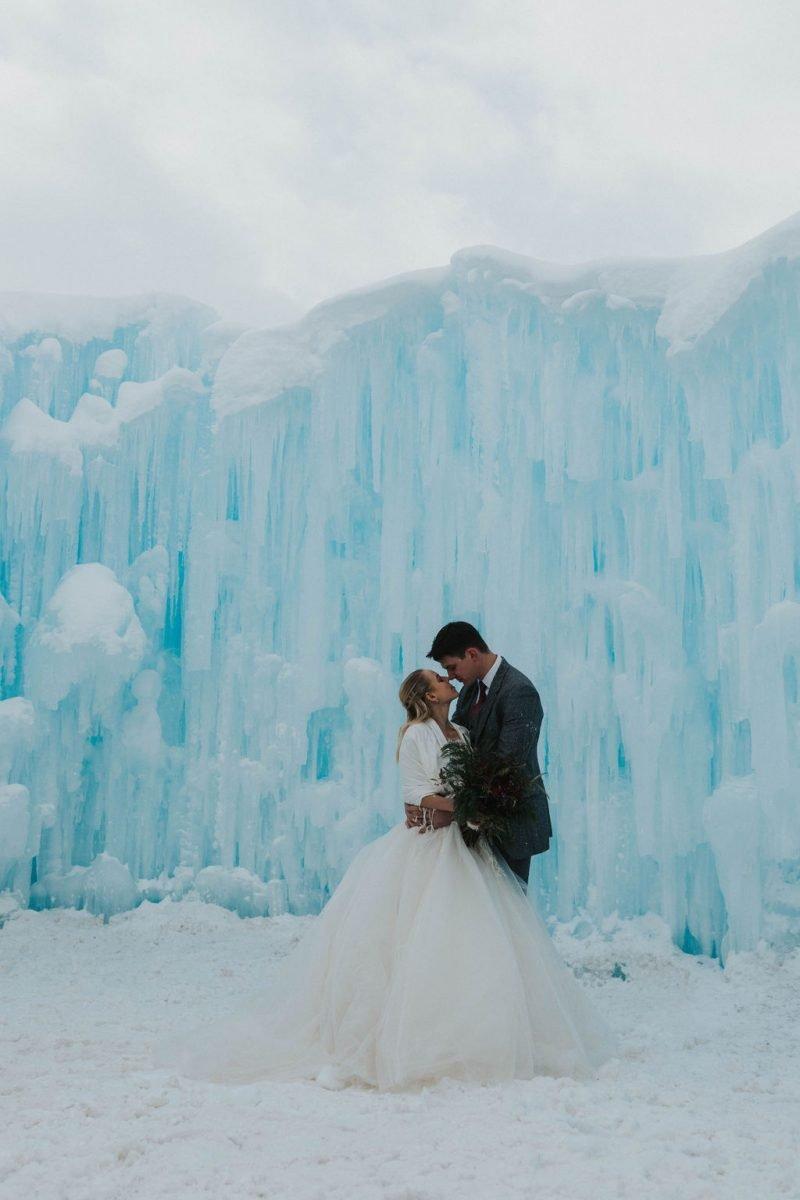 Frozen Fairytale Elopement Inspiration at the Dillon Ice Castles