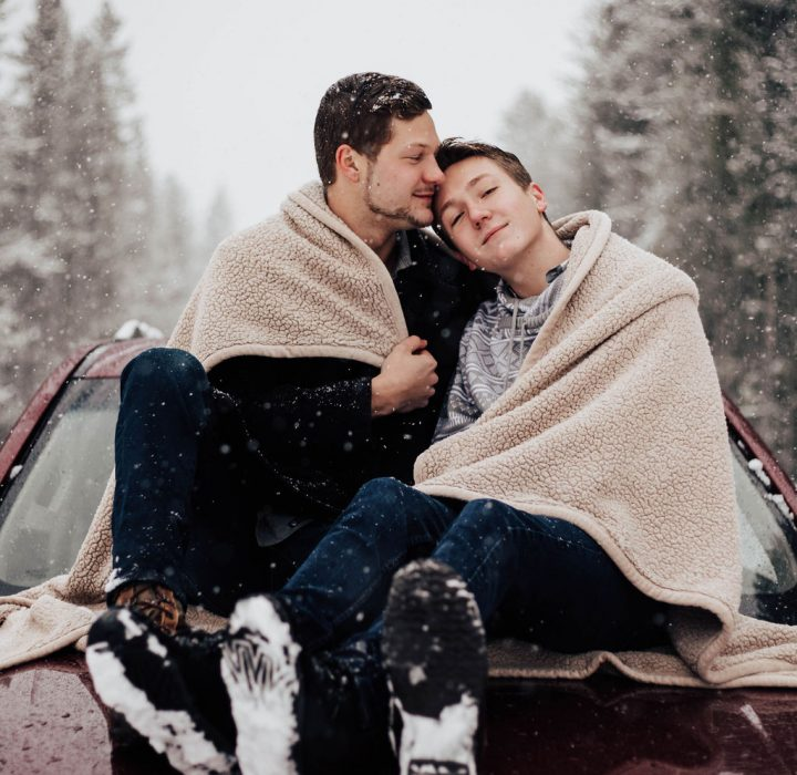 Cozy and Playful Winter Engagement