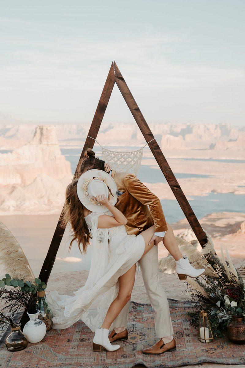 Rocker Glam Lake Powell Elopement Inspiration