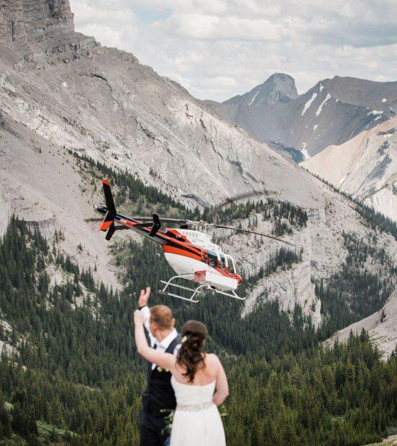 Breathtaking Helicopter Alberta Elopement