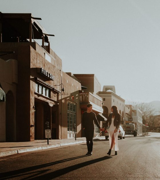 Elegant Sunrise Santa Fe Engagement