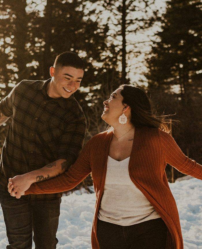 Playful and Snowy Idaho Engagement