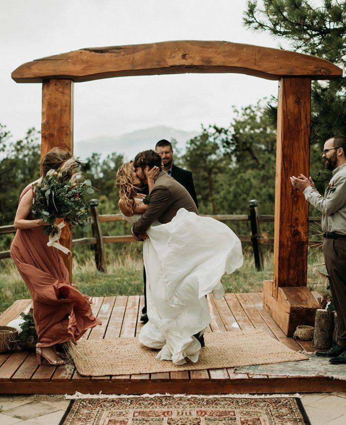 Warm Bohemian Black Forest Lodge Wedding