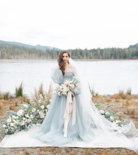 Whonnock Lake Something Blue Elopement Inspiration