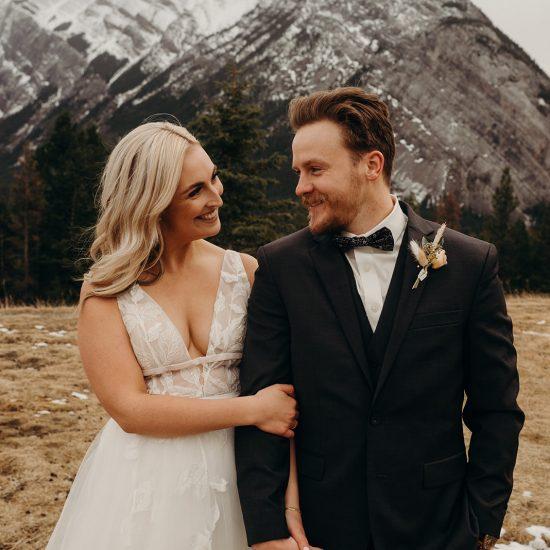 Snowy Mount Norquay Ski Resort Wedding